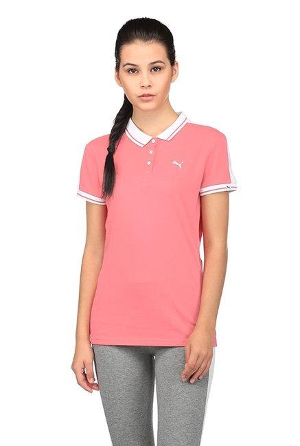 ba2d9afd Buy Puma Peach Slim Fit STYLIZES Polo T-Shirt for Women Online ...