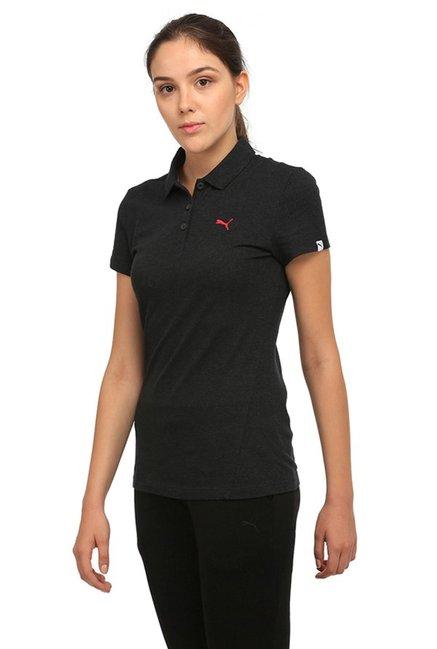 5ca5ad12 Buy Puma Black Textured ESS Polo T-Shirt for Women Online @ Tata CLiQ