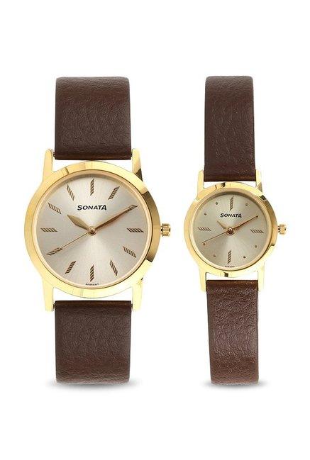 Sonata 71178137YL01 Wedding Analog Couple Watch (71178137YL01)