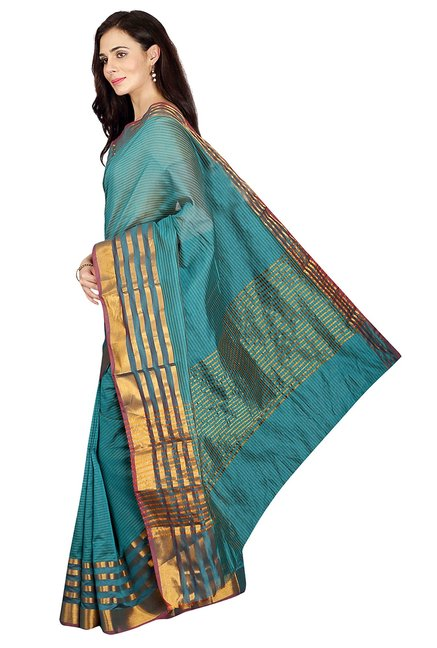 Pavecha's Teal Striped Cotton Silk Banarasi Saree