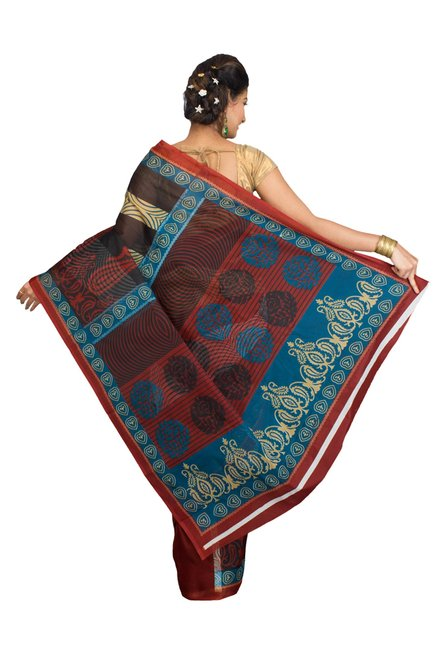 Pavecha's Black & Red Cotton Polyblend Mangalagiri Saree