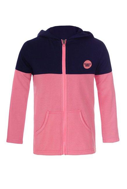 695ef177451e Buy Naughty Ninos Pink   Navy Solid Hood Jacket for Girls Clothing ...