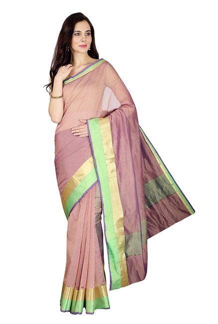 Pavecha's Brown Textured Cotton Silk Banarasi Saree