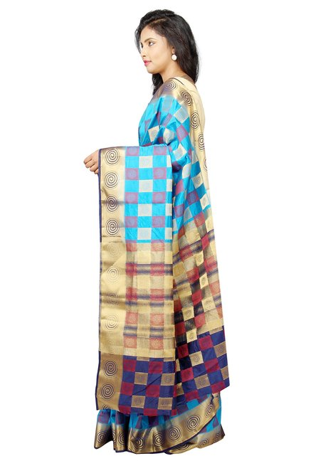 Pavecha's Blue Checks Taffeta Saree