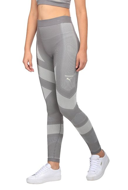 11ad00a4344de8 Buy Puma Grey Geometric Print Evoknit Leggings for Women Online ...