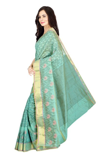 Pavecha's Green Printed Cotton Silk Banarasi Saree
