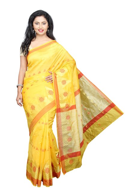 Pavecha's Yellow Printed Cotton Silk Banarasi Saree