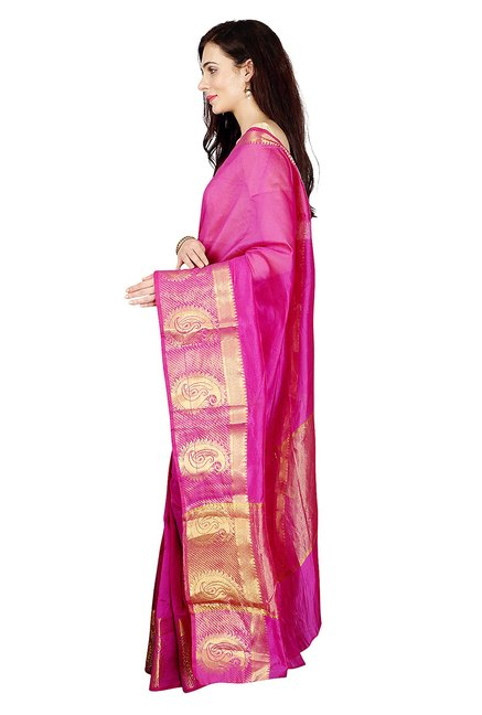 Pavecha's Pink Printed Cotton Silk Banarasi Saree