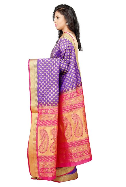 Pavecha's Purple Printed Silk Kanjivaram Saree