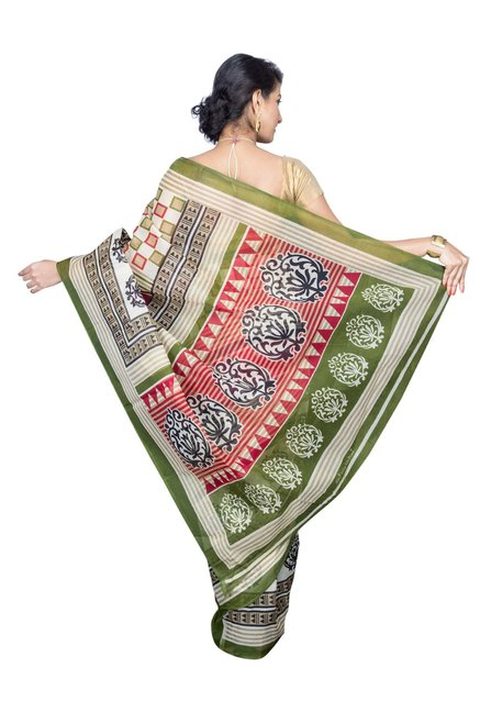 Pavecha's Green & White Cotton Polyblend Mangalagiri Saree
