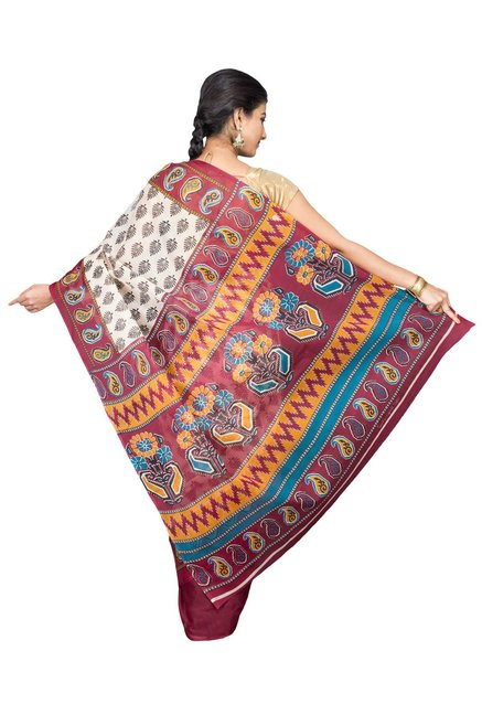 Pavecha's Red & Off White Cotton Polyblend Mangalagiri Saree