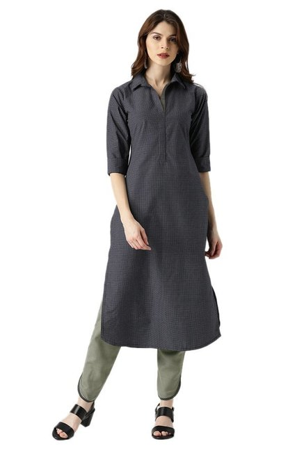 Libas Navy & Olive Checks Kurta With Trousers