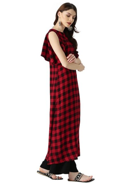 Libas Red Checks Rayon Viscose A-Line Kurta