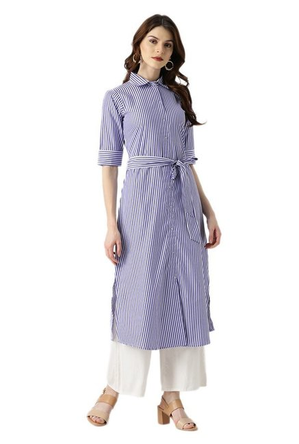 Libas Blue Striped Cotton A-Line Kurta