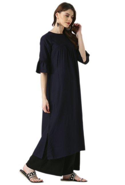 Libas Navy Regular Fit Rayon Viscose A-Line Kurta