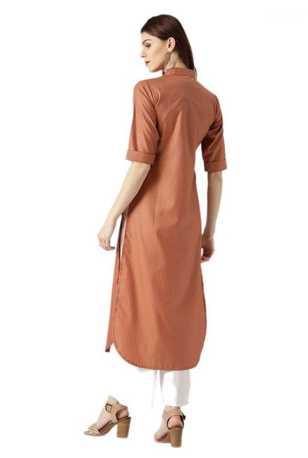 Libas Rust Checks Polyester Pathani Kurta