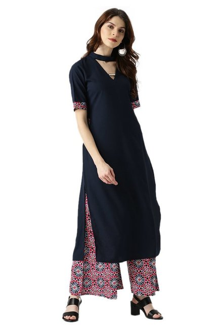 Libas Navy & Pink Regular Fit Kurta With Palazzo