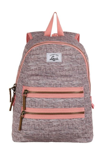 Lavie Barcelona Pink & Grey Woven Polyester Backpack