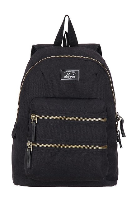 Lavie Barcelona Black Solid Polyester Backpack