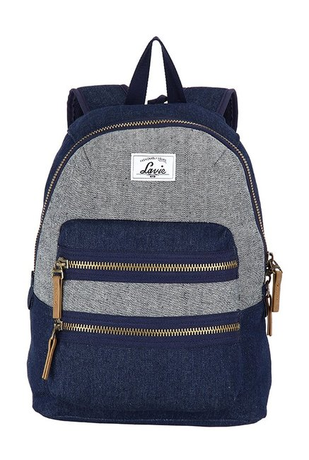 Lavie Barcelona Grey & Blue Color Block Polyester Backpack