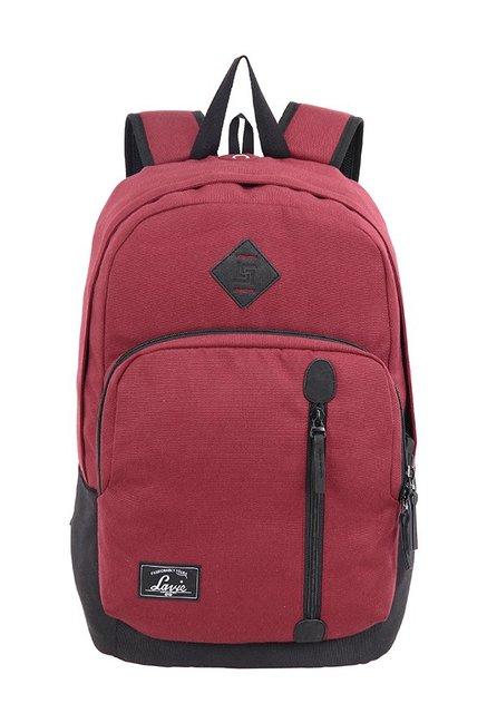 Lavie London Burgundy Solid Polyester Backpack