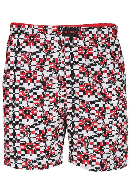 21ef6639b2 Buy Jockey Red & White Printed Cotton Boxer Shorts - US22 for Men Online @  Tata CLiQ