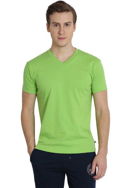 aaa4963b2afa Buy Jockey Lime Green V Neck T-Shirt - 2714 for Men Online   Tata ...
