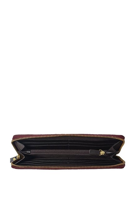 Hidesign Libra W2 RF Maroon Textured Leather Wallet