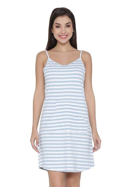 Buy Clovia Blue   Off White Striped Nighty for Women   Tata CLiQ 2d4311b35