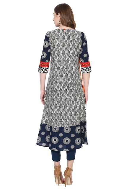 Juniper Multicolor Printed Cotton Angrakha Kurta
