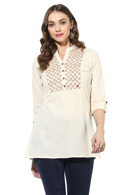 Juniper Off White Embroidered Cotton A-Line Kurti