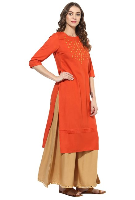 Juniper Orange Printed Rayon Viscose Straight Kurta