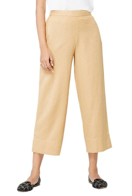 Global Desi Beige Viscose Pants
