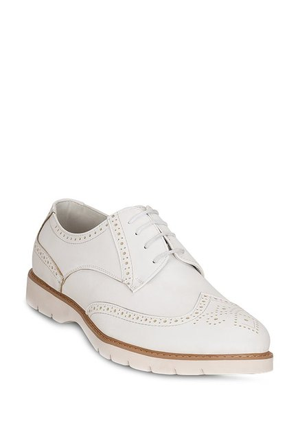 Get Glamr Union White Brogue Shoes
