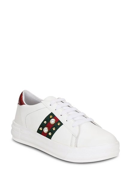 2616a4bdbd8 Buy Get Glamr Tinsley White   Red Sneakers for Women at Best Price ...