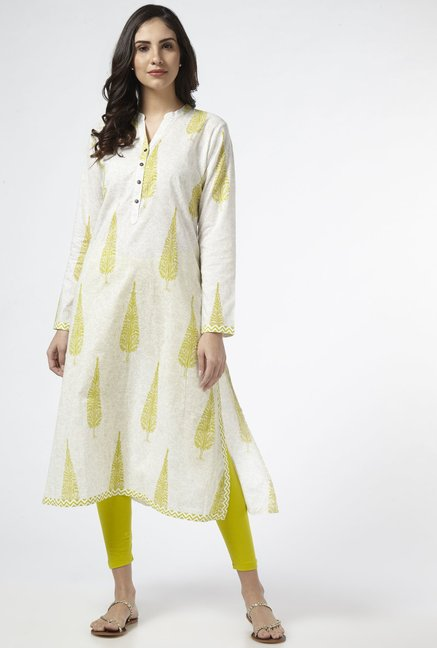 Utsa by Westside Lime Pure Cotton Kurta