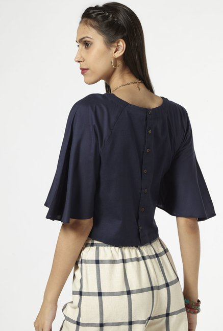 Bombay Paisley by Westside Dark Navy Cropped Blouse