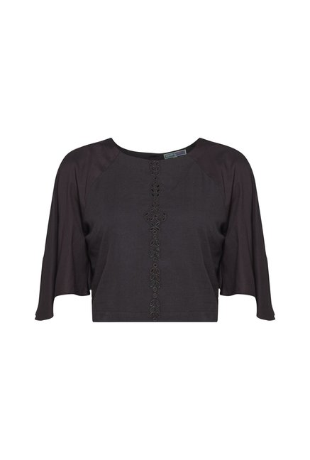 Bombay Paisley by Westside Dark Grey Cropped Blouse