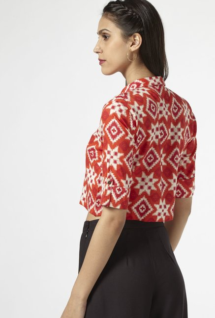 Bombay Paisley by Westside Bright Pink Cropped Blouse