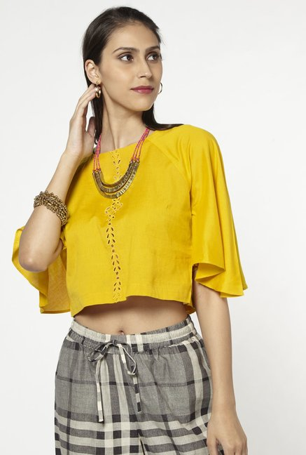 Bombay Paisley by Westside Yellow Cropped Blouse