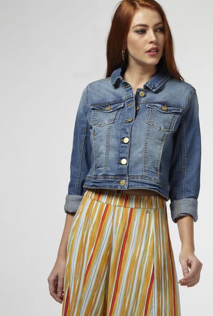 ad31ffd8c51a Buy Nuon by Westside Indigo Denim Jacket for Women Online   Tata ...