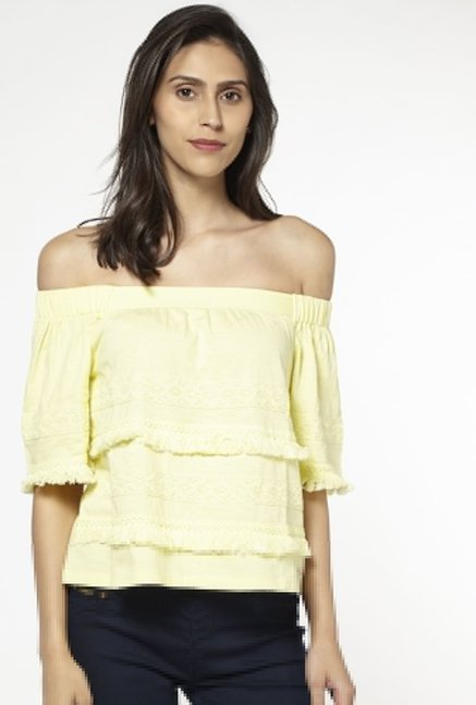 LOV by Westside Yellow Brittany Top