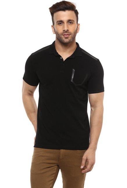 535df4e668ed Buy Mufti Black Cotton Polo T-Shirt for Men Online   Tata CLiQ