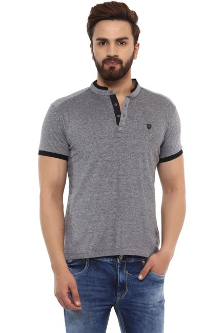 Mufti Grey Half Sleeves Cotton T-Shirt