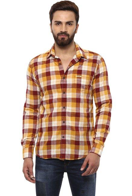 3fea49ba421 Buy Mufti Brown   Maroon Checks Full Sleeves Shirt for Men Online ...