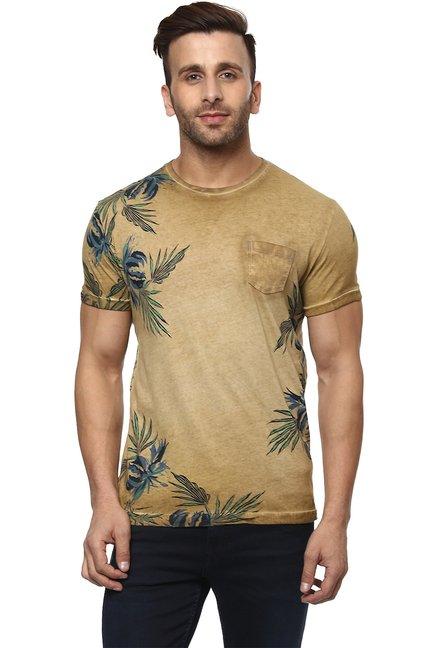 120ed9ac1ab3 Buy Mufti Khaki Printed Slim Fit T-Shirt for Men Online @ Tata CLiQ