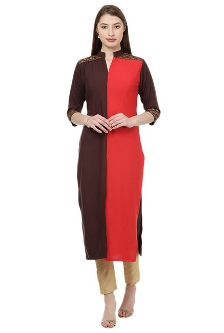 Ziyaa Maroon & Red Regular Fit Crepe Kurta