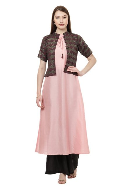 Ziyaa Pink Printed Poly Silk Flared Kurta With Jacket