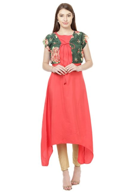Ziyaa Peach & Green Crepe Kurta With Jacket
