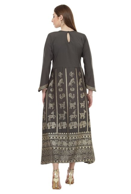 Ziyaa Grey Printed Crepe Flared Kurta